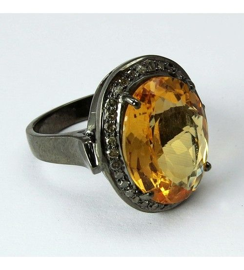 Perfect !! Oval Shape Golden Topaz, Diamond 925 Sterling Silver Ring, Weight: 8.7 g, Stone - Golden Topaz, Diamond, Diamond Quantity - 35 Pieces, Golden Topaz Stone Quantity - 1 Pieces, Diamond Weight - 0.4 Carat, Golden Topaz Stone Weight - 7.9Carat, Diamond Size - 1.7 mm, Golden Topaz Stone Size - 13 x 8 mm, Setting - Prong, Wholesale Orders Acceptable