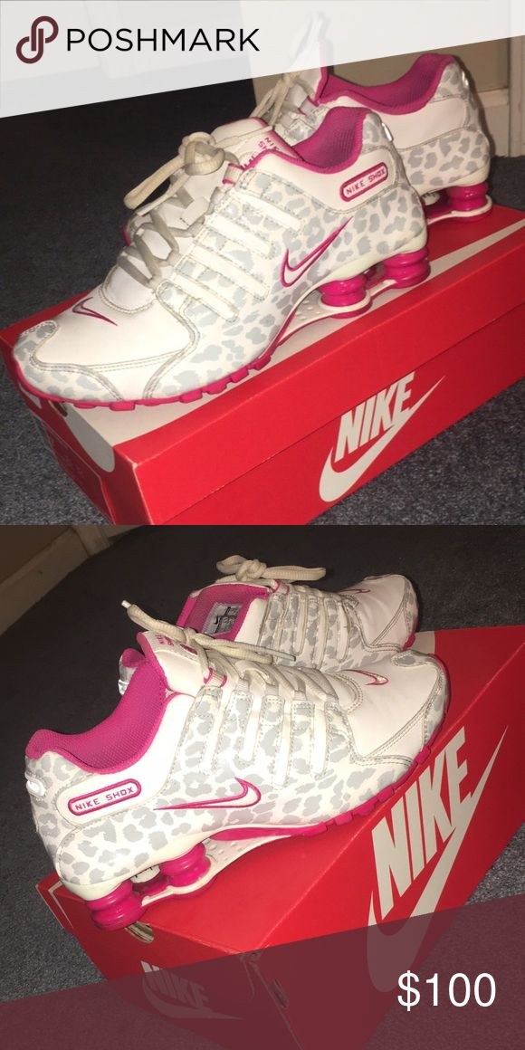 White and pink Nike shox nz with gray spots Women's Size 7 White and pink Nike shox nz with metallic gray cheetah looking spots. Worn but still in good condition. Nike Shoes Sneakers