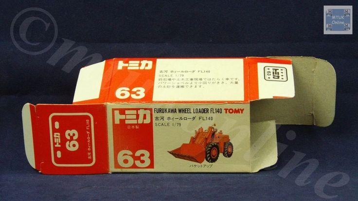TOMICA 063A FURUKAWA WHEEL LOADER | 1/79 | ORIGINAL BOX ONLY | 1988-1993 JAPAN