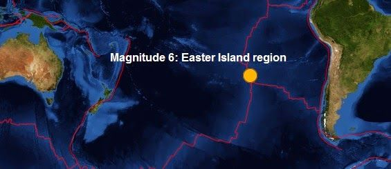 The Big Wobble Almanac : Magnitude 6.0 - Easter Island region Today's earthquake is this years 135th quake measuring magnitude 6 or more and the first of November, the biggest being the magnitude 8.2- 94km NW of Iquique, Chile on the second of April earlier in the year.