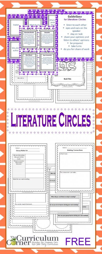 Literature Circle Resources FREE from The Curriculum Corner | Book Clubs