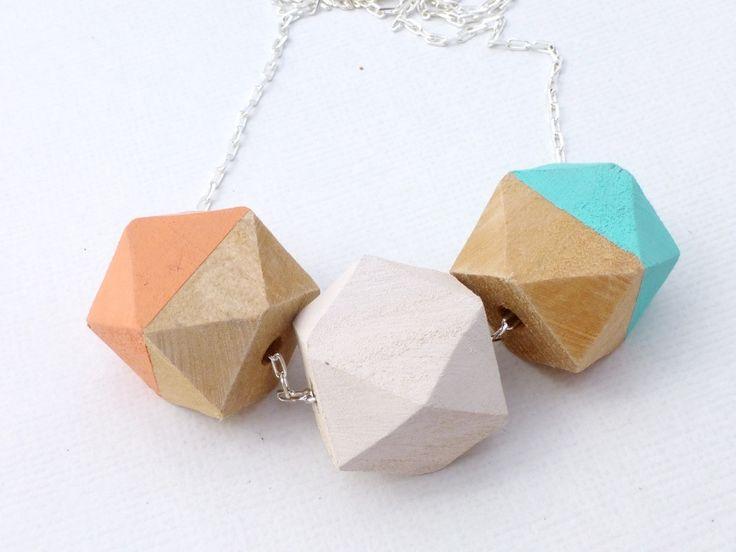 Pastel Pop Geometric Bead Necklace - Peach, Mint, Cream  - Whimsy & Grace