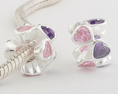 Pink &Violet CZ 925Sterling Silver European Bracelet Bead – Whiney's Stable