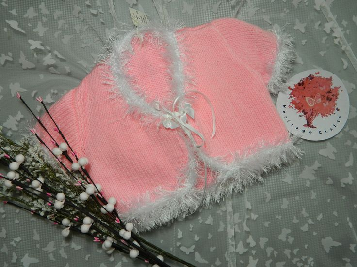 Pink Fluffy Cardigan -----------  Heritage Baby Crafts. All are one of a kind and perfectly unique to our handmade name! Please support us by checking us out!  We are happy to accept requests so don't be shy and contact us on our etsy page!