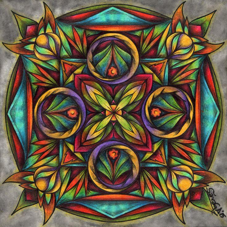 ::MANDALA#6:: Tinta china, lápices de colores, acuarela y lejía. ENCARGO