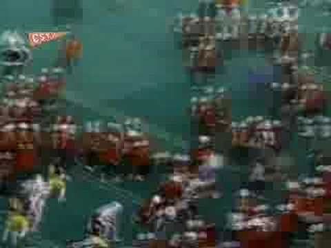 "University of California, Berkeley executes ""The Play"" in a college football game against Stanford. Completing a wacky 57-yard kickoff return that includes 5 laterals, Kevin Moen runs through Stanford band members who had prematurely come onto the field. His touchdown stands and California wins 25–20."