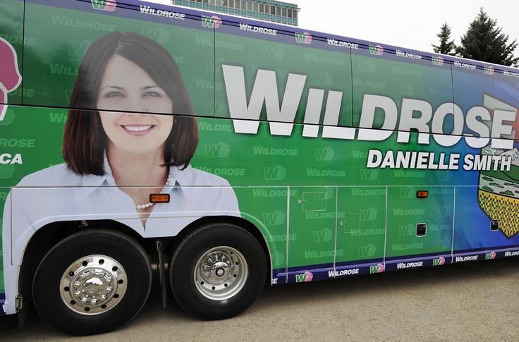 """""""Bus-ted: Danielle Smith campaign gone Wild...rose"""" - Alberta's Wildrose party says it is planning to change the design on its campaign bus after an image of leader Danielle Smith became the subject of some laughs."""