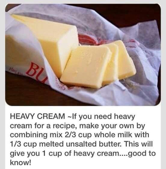 Sub for Heavy Cream