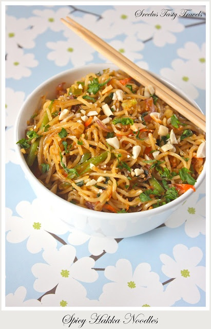 Hakka Noodles with oodles of vegetables and yes its spicy #vegetarian #spicy #food