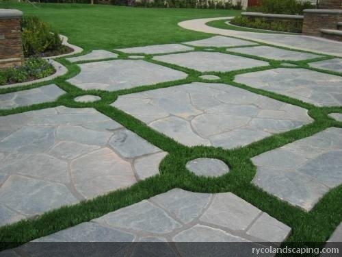 Driveway With Pavers And Fieldturf To Give The Look Of