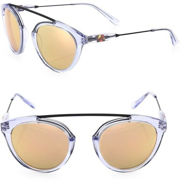 Westward Leaning Flower 14 51MM Mirrored Aviator Sunglasses (895 BRL) ❤ liked on Polyvore featuring accessories, eyewear, sunglasses, apparel & accessories, mirror glasses, mirror aviator sunglasses, uv protection sunglasses, mirror lens sunglasses and mirror lens aviators