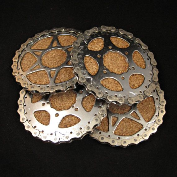 Recycled Bike Cassette Rings and Chain Coasters  by TheHippieSpot, $79.95