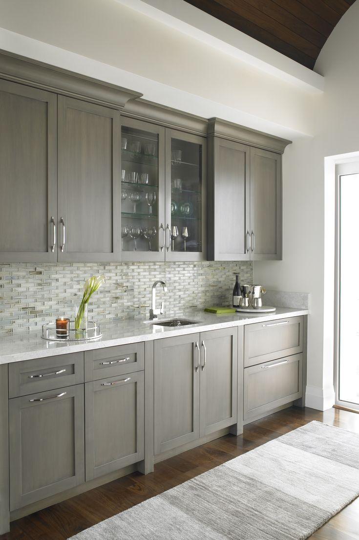 Dark Gray Custom Wet Bar With Pale Gray Tiled Backsplash