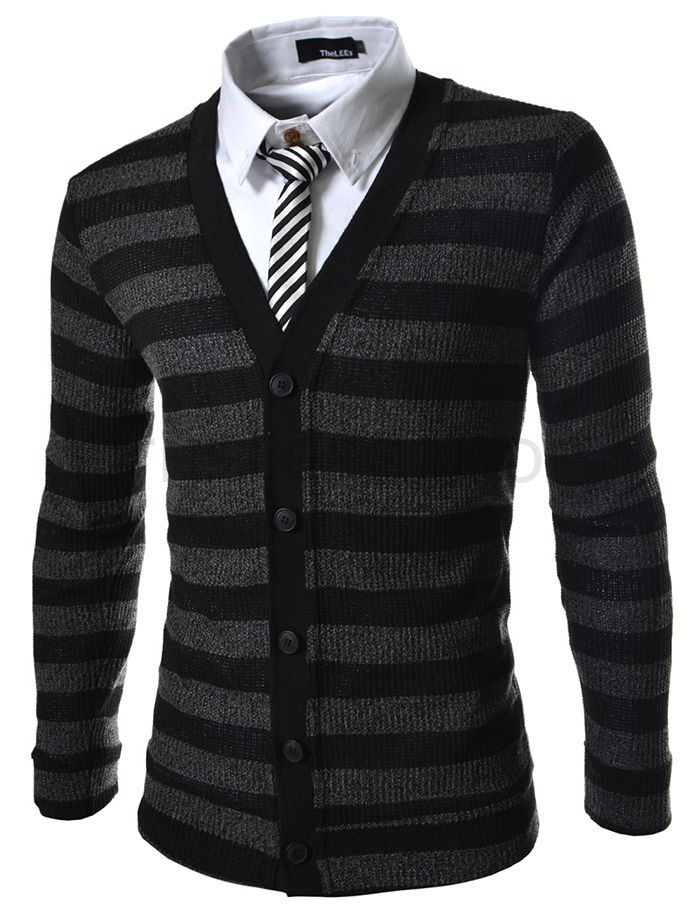 (VRC06-BLACK) Slim Fit 5 Button Corduroy Knitted Cardigan