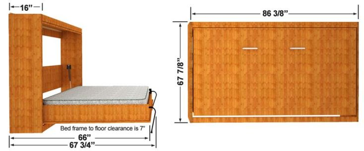 Horizontal Murphy Bed Finished Dimensions Horizontal