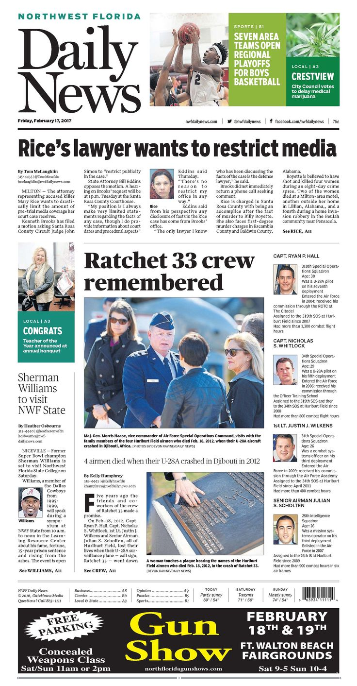 The Feb. 17, 2017, front page of the Northwest Florida Daily News: 4 airmen died when their U-28A crashed in Djibouti in 2012