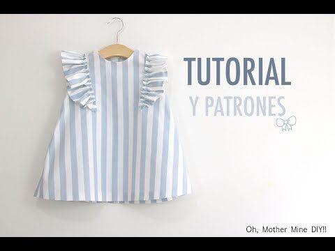 Costura: Vestido con volantes para niñas (patrones gratis talla hasta 8 años) - YouTube