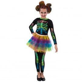 Skeleton Girls Costume - Neon Tutu