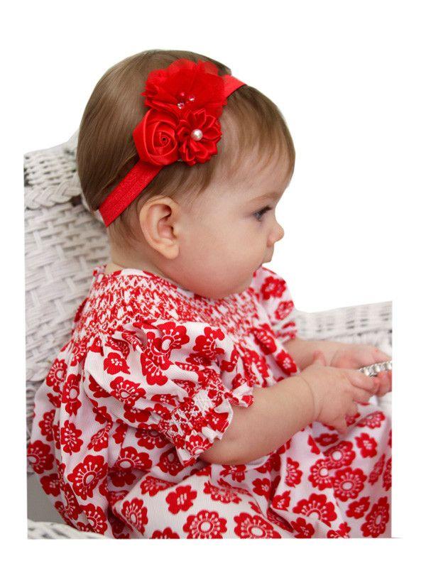 Baby Red Headbands in Chiffon, Satin Ribbon and Pearls