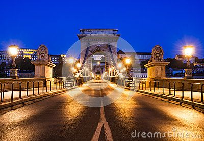Szechenyi Chain Bridge is a suspension that spans the River Danube between Buda and Pest, in Budapest, the capital of Hungary. It was the first permanent bridge across the Danube in Budapest, and was opened in 1849.