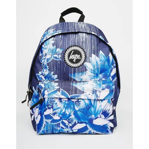 Hype Backpack in Navy Digital Floral Print ($43) ❤ liked on Polyvore featuring bags, backpacks, navy, hype bags, hype rucksack, floral rucksack, top handle bag and blue backpack