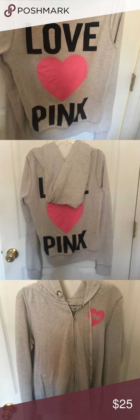 PINK zip up hoodie Victoria's Secret PINK light grey zip up hoodie. PINK Victoria's Secret Jackets & Coats