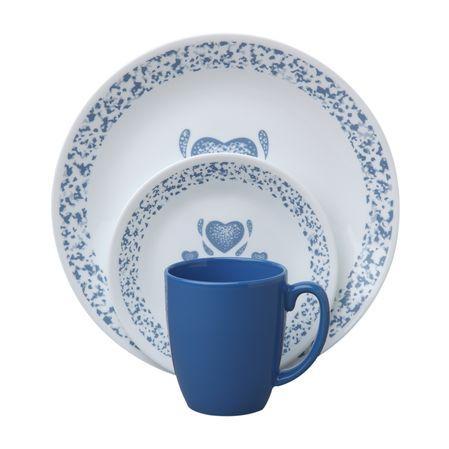 #Corelle® Livingware™ Blue Hearts 16-Pc Dinnerware Set - Buy Online