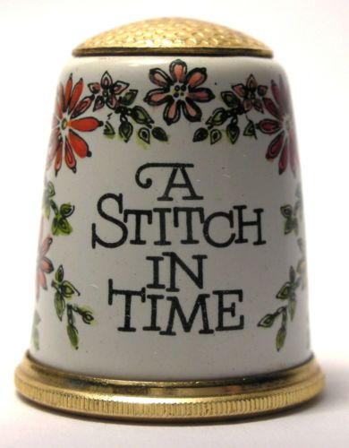 Hard to Find Halcyon Days Enamel Thimble A Stitch in Time with Flowers C 1980s   eBay /  Mar 12, 2014 / US $145.00