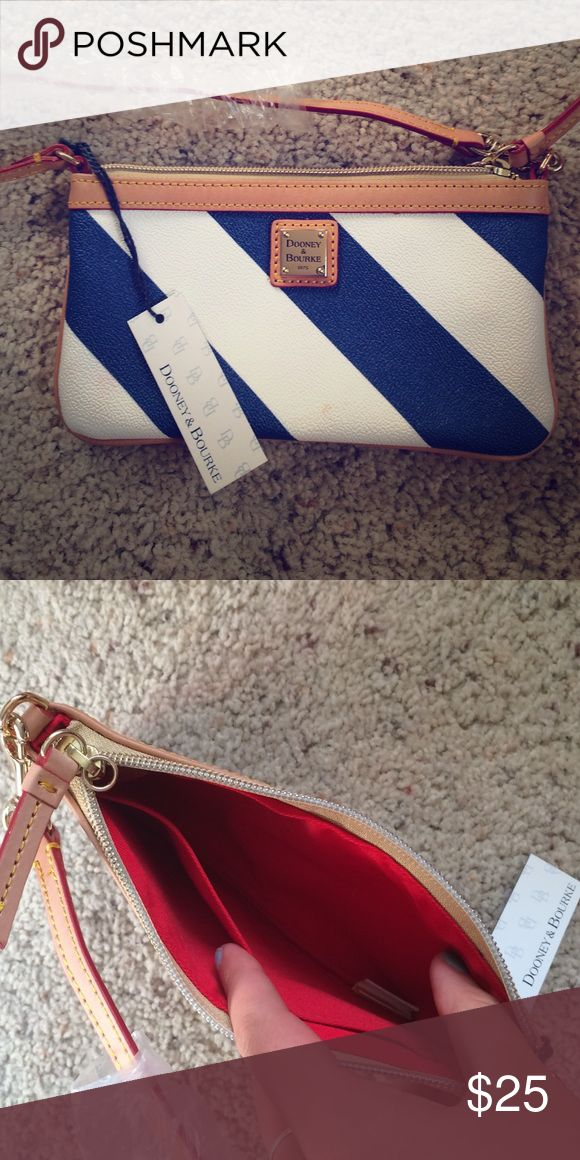 Clutch Striped blue and white clutch Dooney & Bourke Bags Clutches & Wristlets