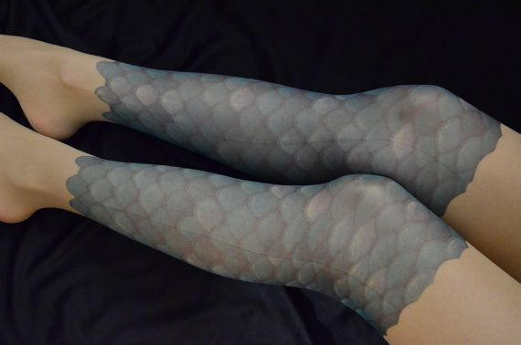 Mermaid Scale Tattoo Tights S-XXL Sizes Available by colinedesign