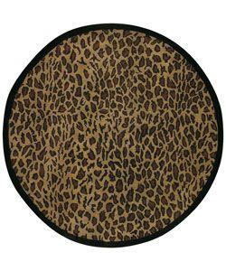 Hand Tufted Brown Leopard Animal Print Safari Wool Rug 8 Round