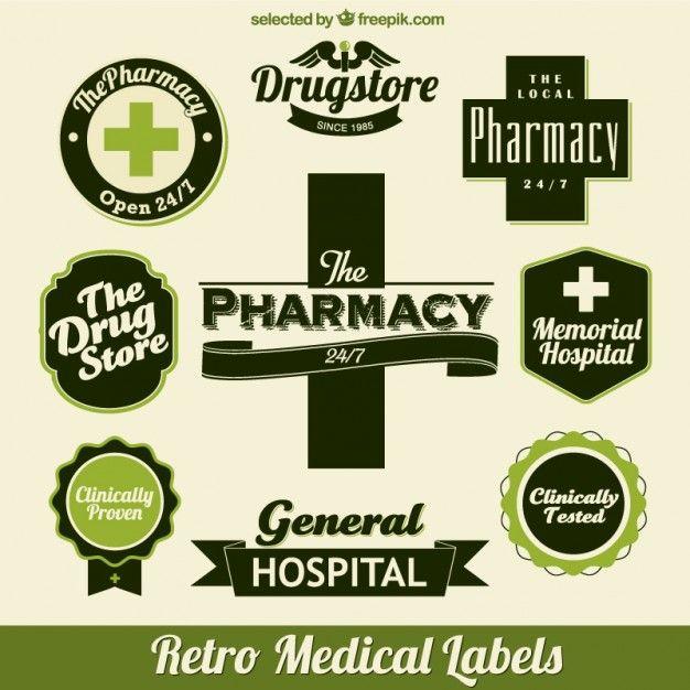 Медицинские зеленые этикетки Бесплатные векторы