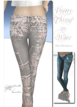 DEMO *  Floral Texture Jeans - Three Colours