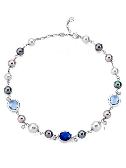 https://www.regalosjoyeria.com/es/plata/160-collar-perlas-majorica-variadas-y-cristales-azules-12798212.html# Elegante y moderno collar de perlas Majorica. De venta en nuestra web