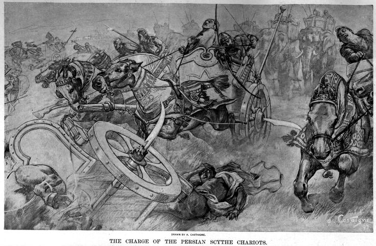 Scythe chariots at the Battle of Gaugamela ...