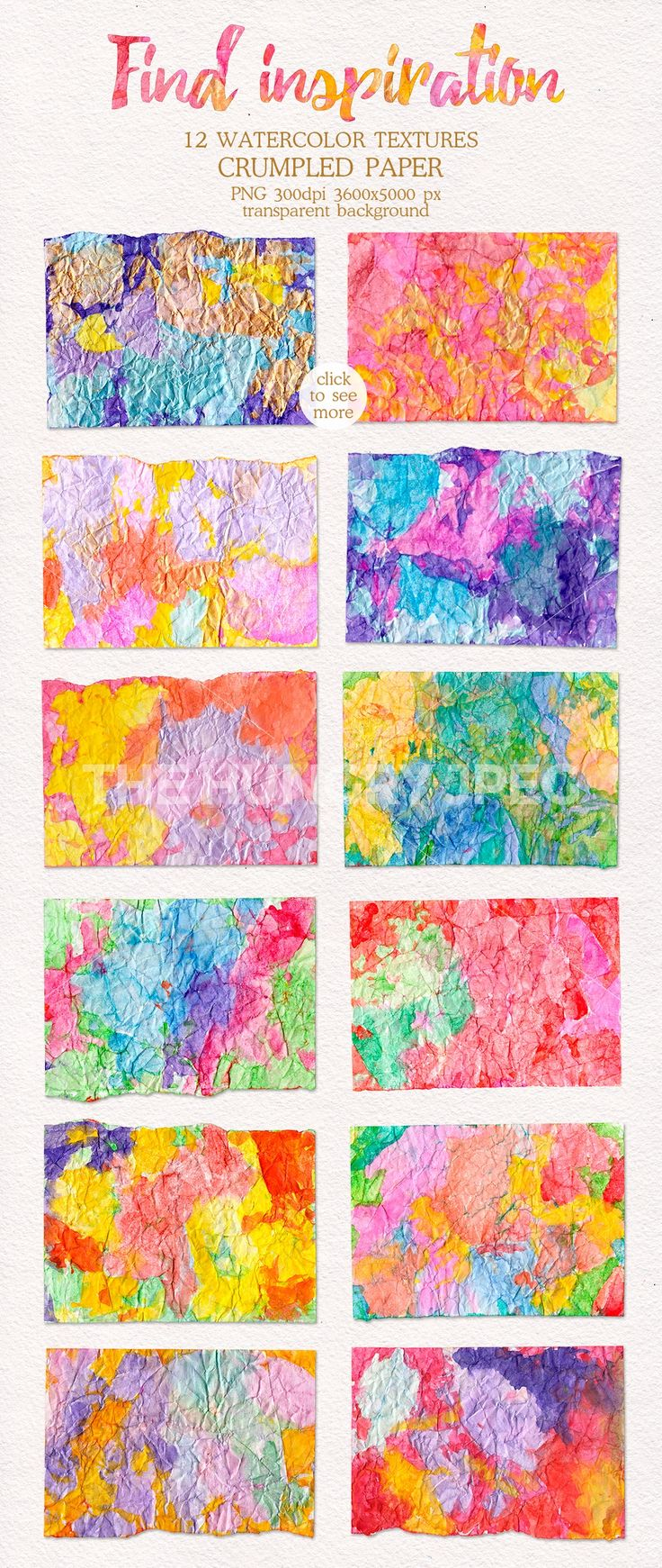 12 Bright rainbow Watercolor hand painted textures on crumpled paper.  This watercolor pack containing watercolor textures that make lovely paper stationery (posters, business cards, postcards, notebooks, invitation) or home decor (pillows, bedclothes, towels, napkins), for weddings, apparel, merchandise designs, scrapbooking, fashion and so much more.