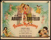 8y760 PARDON MY SARONG 1 / 2sh '42 Bud Abbott & Lou Costello, seksi tropik bayanlar sanat ve fotoğrafları!