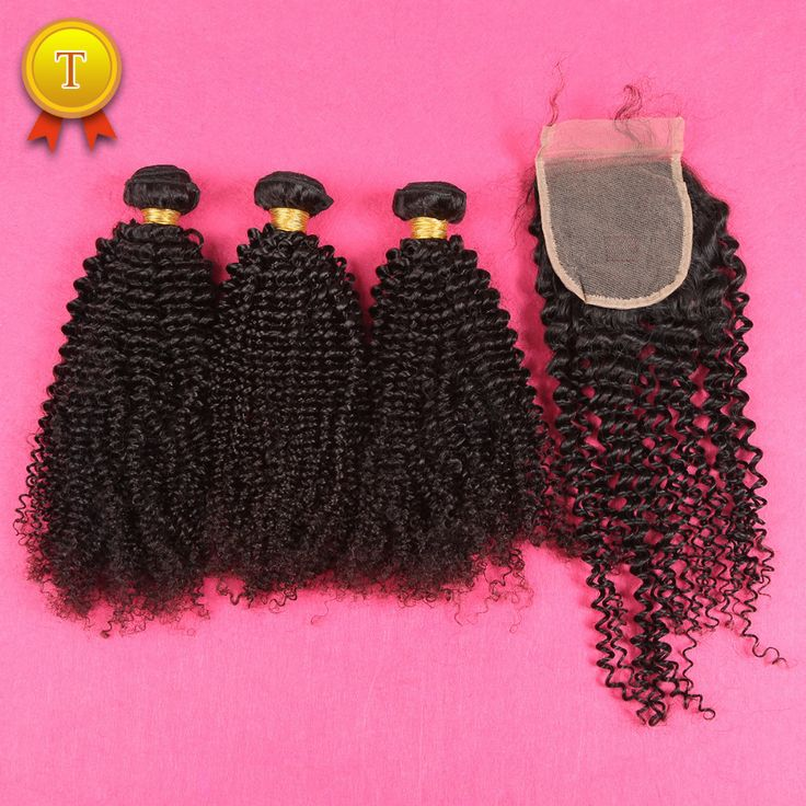 DHL Free Shipping 7A Mongolian Kinky Curly Hair With Closure Human Hair Extension Brazilian Kinky Curly Virgin Hair With Closure