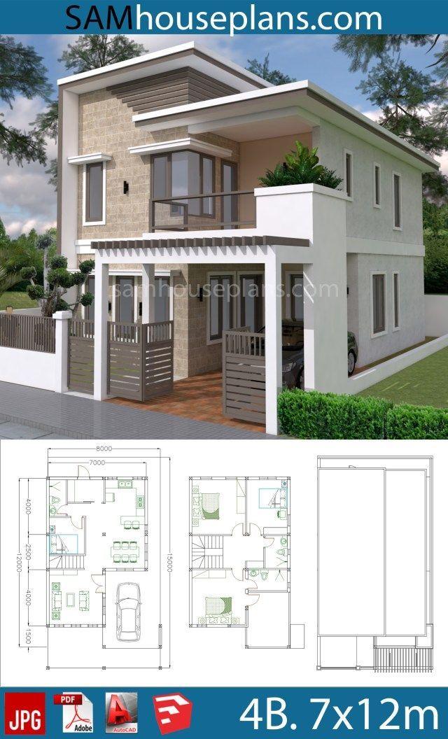 House Plans 7x12m With 4 Bedrooms Plot 8x15 In 2020 Beautiful House Plans Duplex House Design Bungalow House Design