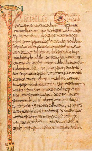 Escritura del monasterio de Luxevil (Francia), siglo VIII. A lo largo de la dinastía merovingia proliferaron los monasterios que se dedicaban a realizar libros miniados (escritos y pintados a mano).