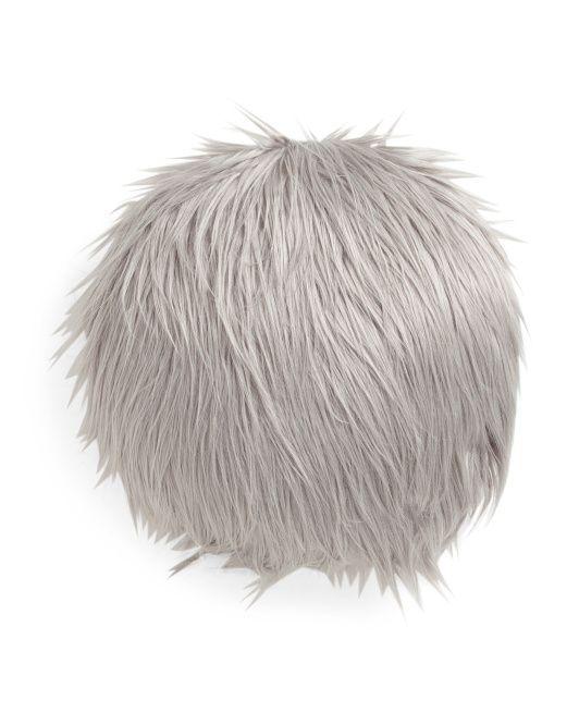 Round+Faux+Mongolian+Fur+Pillow