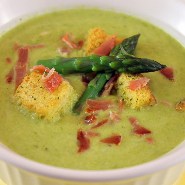 Creamy Asparagus Soup with Prosciutto | recipes | Pinterest