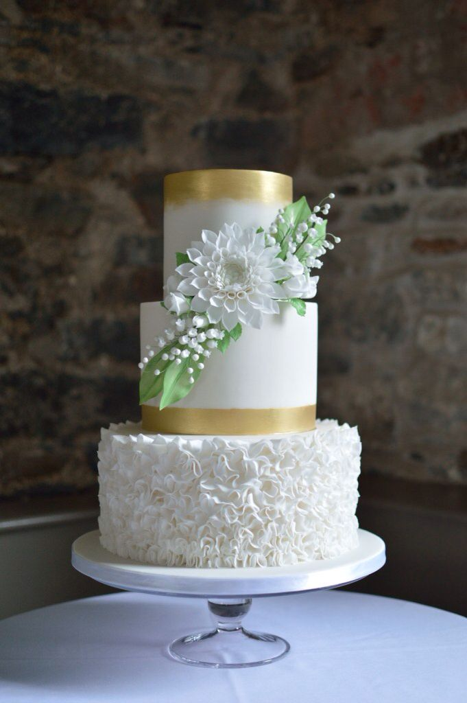 Contemporary- romantic, White and Gold wedding cake with sugarcraft dahlia and Lily-of-the-valley by Cake Couture NI