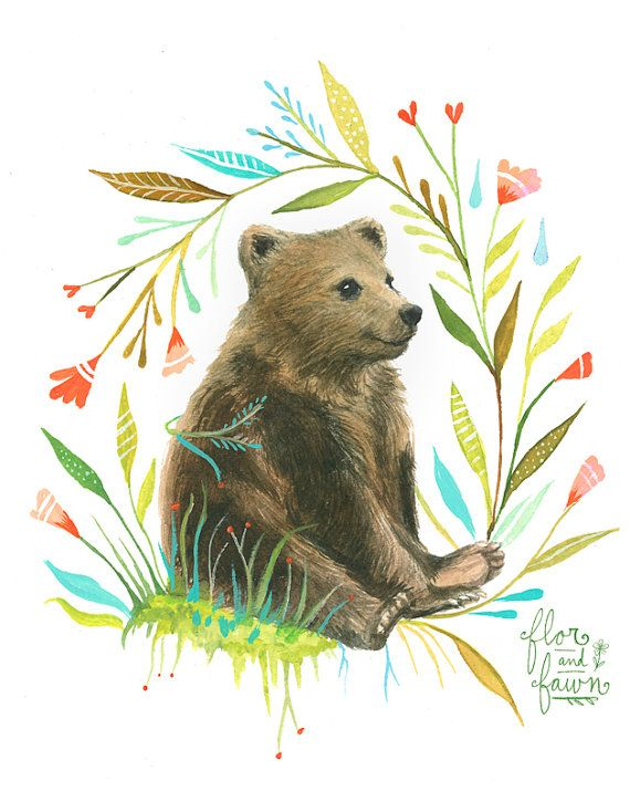 Bear Art Print | Watercolor Painting | Nursery | Woodland Animal | Floral | 8×10 | 11×14