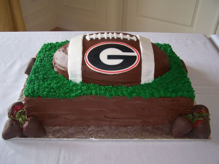 groom's cake - here's the groom's cake that went with the square wedding cake in my pics.  They are big UGA (University of Georgia) fans.  The cake is chocolate, with fudge icing, buttercream grass and accents and an edible image on a gumpaste plaque. ?sp