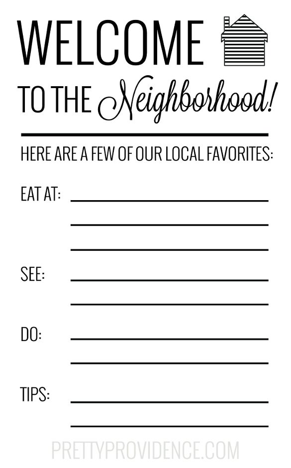 Free printable card for new neighbors - write in your fave places in town and local tips!