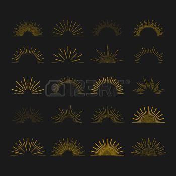 boho: Retro Sun burst shapes. Vintage starburst logo, labels, badges. Sunburst minimal logo frames. Vector firework design elements isolated. Sun burst light logo. Minimal vintage gold firework burst icon