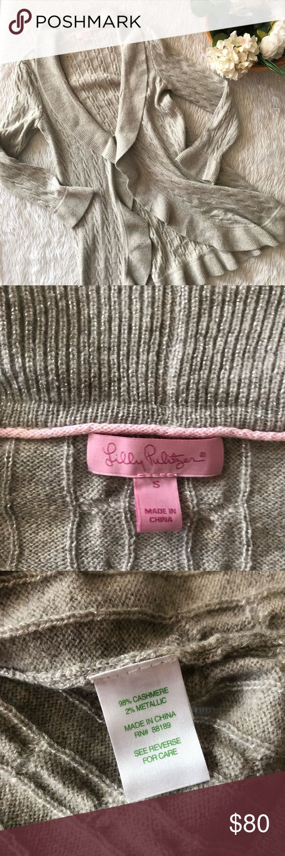 NWOT Lily Pulitzer Cashmere Metallic Cardigan This cardigan is in perfect condition!  Never worn  Size small  Pit to pit is approx 18 inches  Length is approx 33 inches  All measurements are from flat lays  Smoke and pet free home! No flaws like stains or holes! No modeling No trades! OFFERS WELCOME!😊 Lilly Pulitzer Sweaters Cardigans