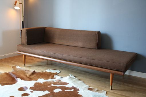 Danish Modern Sofa/Chaise = slipcovered crib mattress, plywood, bolsters, tapered legs and mounting plates