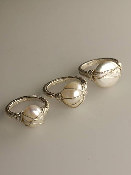 White Pearl & Sterling Silver Wire Wrapped Fashion Rings